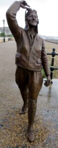 The bronze satue of Amy Johnson at Herne Bay