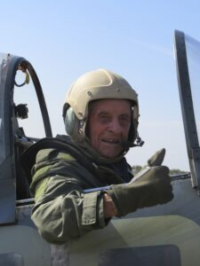Ray Roberts in a Spitfire at Biggin Hill