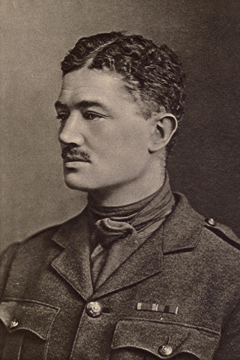 Portrait of British soldier poet Julian Grenfell (1888-1915). Photo dated to 1915 due to presence of DSO ribbon on uniform, which was awarded in 1914 and formally announced in the London Gazette on 1 January 1915.