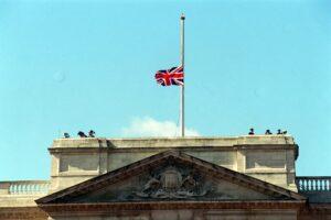 The Union Flag flies at half mast on Buckingham Palace (Daily Mail)